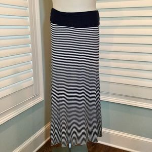 Karen Kane Navy Striped Maxi Skirt, Medium